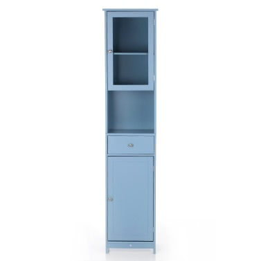 iKayaa Modern Tower Tall Storage Cabinet Doors & Drawer Wooden Floor Cabinet Home Furniture White/Blue