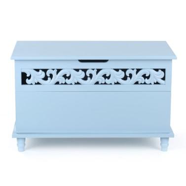iKayaa Modern Rectangle Storage Chest Large Toy Blanket Storage Bench Ottoman White/Blue