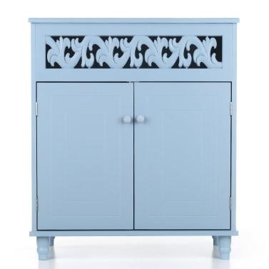 iKayaa Modern Double-Door Floor Cabinet Shelved Storage Cabinet Bedroom Bathroom Furniture White/Blue