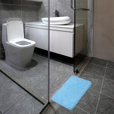 50 * 80cm Rectangular Soft Chenille Bathroom Rug Non-slip Water Absorbent Shaggy Shower Mat Bathmat Bath Toilet Rug Grey