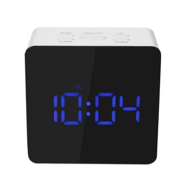 Digital LED Mirror Clock 12H/24H Alarm Snooze Function u00b0C/u00b0F Indoor Thermometer Adjustable LED Luminance--Blue