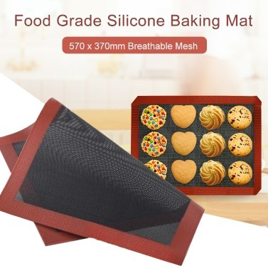Backmatte aus Silikon in Lebensmittelqualität, 570 x 370 mm, halbe Blattmatte, atmungsaktives Netz, Antihaft-Backen, halbe Blatt für Gebäckkuchen mit Brötchen