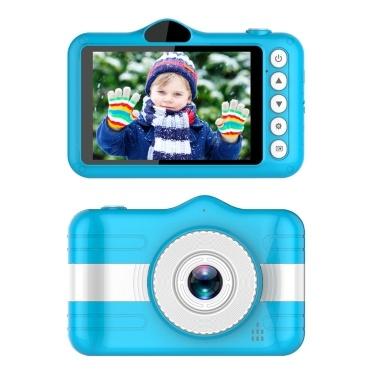 X600 3,5-Zoll-Kinder-Digitalkamera Full HD 1080P Mini-Kinderkamera , Cartoon-Kinderspielzeugkamera , Eingebaute 400-mAh-Batterieunterstützung 32 GB Speicherkarte , Doppelkameras vorne und hinten , Kinder-Video-Camcorder (Blau)