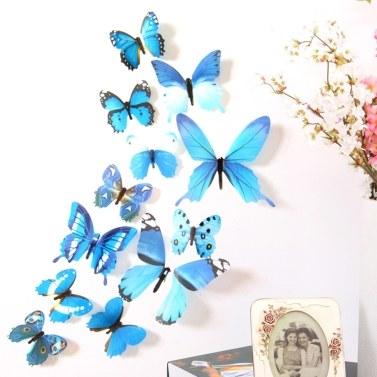 12Pcs Wall Stickers PVC Butterfly Shape Wall Decal Sticker