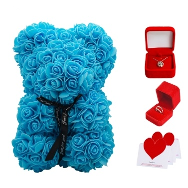 Rose Bear Girlfriend Gifts Silver Ring Necklace Gift Box