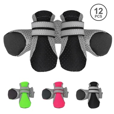 Dog Shoes Boots Soft Nonslip Sole Mesh Boots 2 Long Safe Reflective Straps Breathable 3 Set 12PCS