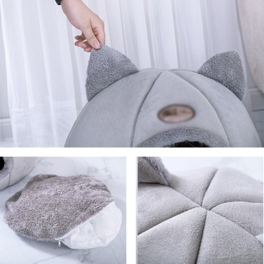 Warm Cat Bed Winter Soft Comfortable Pet Nest Indoor Semi-Enclosed Pet Cat Dog Sleeping Tent House