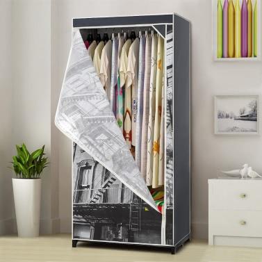 iKayaa Antique Portable Clothes  Cabinet Non-Woven Fabric Closet Storage Organizer Clothing Hanger Rack