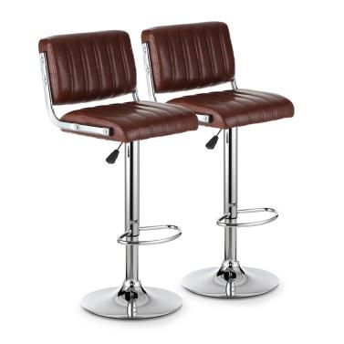 iKayaa 2PCS/Set 2 Modern PU Leather Swivel Bar Stools Height Adjustable Pneumatic Counter Pub Chairs Heavy-Duty