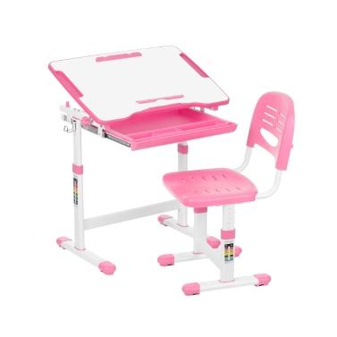 IKayaa Höhenverstellbare Kinderstudie Schreibtisch & Stuhl Set W / Papier Rollenhalter 0-40 ° Kippbare Kinder Aktivität Kunst Tisch Set Metallrahmen