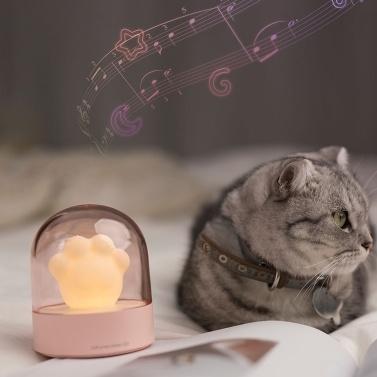 LED-Nachtlichter mit Musik Cat Claw Shape Lampe 3 Helligkeit Beleuchtung Nachttischlampe für Kinder Travel Camping Office Home USB-betriebene beleuchtete Spieluhr