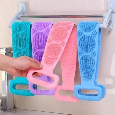 Silikon-Badekörperbürste Peeling mit langem Silikon-Körper-Rückenwäscher Doppelseitige Körperbürste Rückenscheibe zur Tiefenreinigung der Badetuchbürste