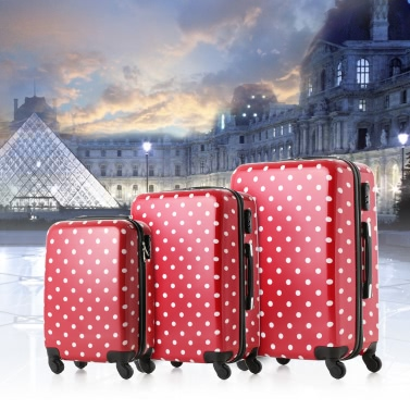"TOMSHOO Mode 3PCS Gepäck Set Handkoffer PC + ABS Trolley 20 ""/ 24"" / 28 ""Hard Shell Kombinationsschloss Spinner Set Nette Red Dot"