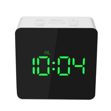 Digital LED Mirror Clock 12H/24H Alarm Snooze Function u00b0C/u00b0F Indoor Thermometer Adjustable LED Luminance--Green