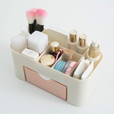 Saving Space Desktop Cosmetic Makeup Storage Drawer Type Box 6 Grids  Brush Lipstick Holder Pink