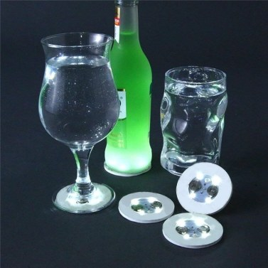 Led Coaster Flashing Round Shape Cup Sticker Mat Wine Glass Bottle Cup Luminous Coaster Home Party Club Bar Supply