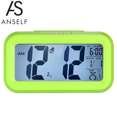 Anself LED Digital Alarm Clock Repeating Snooze Light-activated Sensor Backlight Time Date Temperature Display