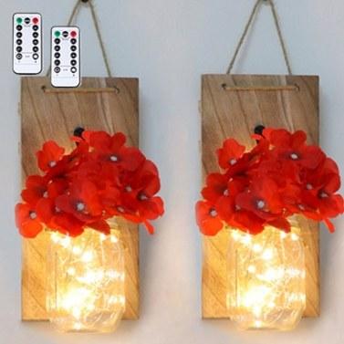 2PCS Hanging Glass Mason Jars LED Fairy Lights