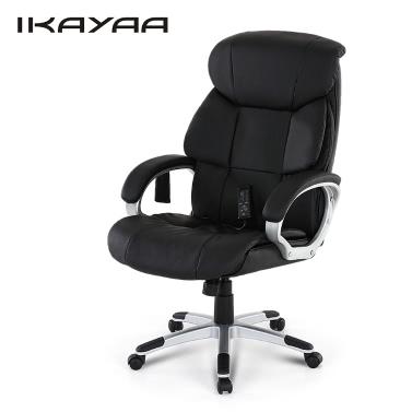 iKayaa Moderne Hochwertige PU-Leder Executive Office vibrierende Massage-Stuhl Verstellbarer 360 ° Swivel Computer Aufgabe Stuhl 8 Modus Massage W / Tilt-Verschluss