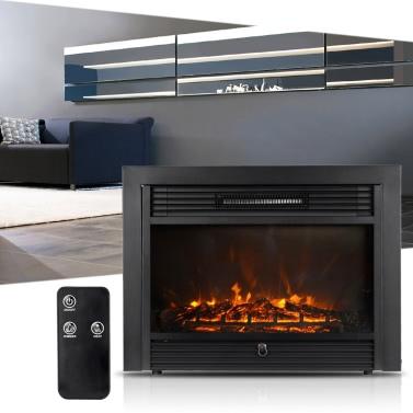 """Homgeek 28.7 """"* 21"""" Embedded Elektro-Kamineinsatz Heizung Glasansicht Einstellbare LED-Flamme Hitzeeinstellung mit Fernbedienung 1500W"""