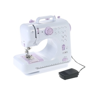 Anself Multifunctional Electric Household Sewing Machine Speed Adjustable Replaceable Foot with Pedal LED Light 12 Built-in Stitch Patterns AC100-240V