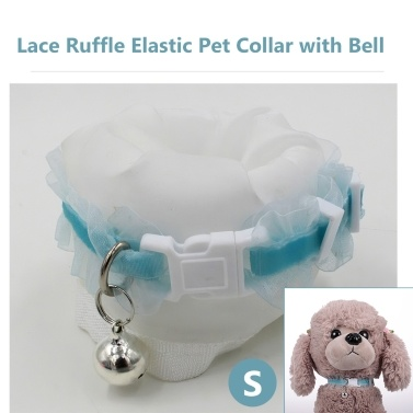 Pet Collar Lace Ruffle Elastic Collar with Bell Adjustable Cat Collar Soft Fabric Neck Strap with Bell for Dog Puppy Cat Kitty