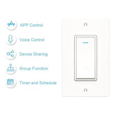 Wi-Fi in der Wand Smart Switch Sprachsteuerung Smart Life APP Fernbedienung Timer Freigabegerät für Android iOS