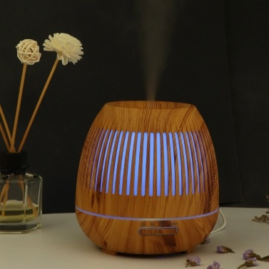 yx-130 Smart WiFi Essential Oil Diffuser 400ml Cool Mist Humidifier Wood Grain Aromatherapy Humidifier 7 Color Changing Mood Light Tuya APP Control Waterless Auto Shut-off