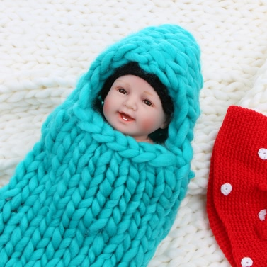Chunky Cute Warm Soft Newborn Infant Baby Girl Boy Spring Fall Winter Envelope Stroller Bed Sleeping Bedding Bag Sack Swaddle Wrap Blanket Handwoven Hand Knitted Crochet Thick