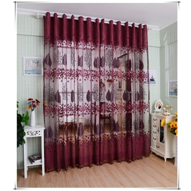 European Top-grade Leaves Pattern Half Shading Burnt-out Curtain for Door Window Room Decoration Window Screening Pastoral Voile Curtains Bedroom Decor 2PCS
