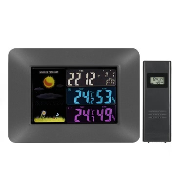Multi-functional Wireless Weather Forecast Clock Digital Colorful LCD Indoor Outdoor Thermometer Hygrometer Alarm Snooze Calendar Function