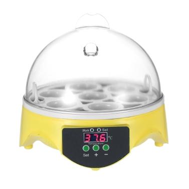 7 Eggs Mini Digital Egg Incubator Hatcher Transparent Eggs Hatching Machine Automatic Temperature Control for Chicken Duck Bird Eggs AC110V