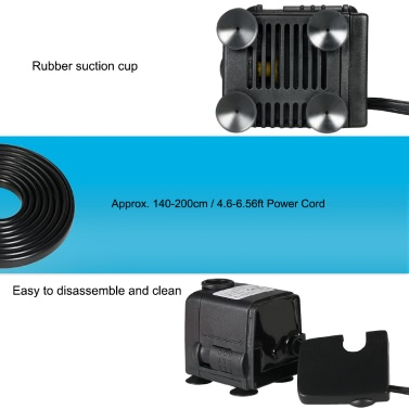 450L/H 6W Submersible Water Pump for Aquarium Tabletop Fountains Pond Water Gardens and Hydroponic Systems with 2 Nozzles AC110V