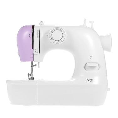 Decdeal Multifunktionale elektrische Haushalt 2-Gang-Nähmaschine mit Knopfloch Presser Fußpedal LED-Licht 12 Eingebaute Stichmuster AC100-240V