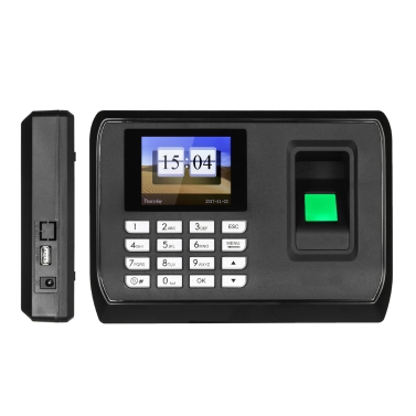 Biometric Fingerprint Password Attendance Machine Employee Checking-in Recorder 2.4 inch TFT LCD Screen DC 5V Time Attendance Clock