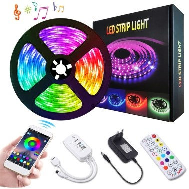 5 m BT-Steuer-LED-Leuchten-Streifen-Kit mit 24 Tasten IR-Fernbedienungs-Steuerbox mit 24 Tasten
