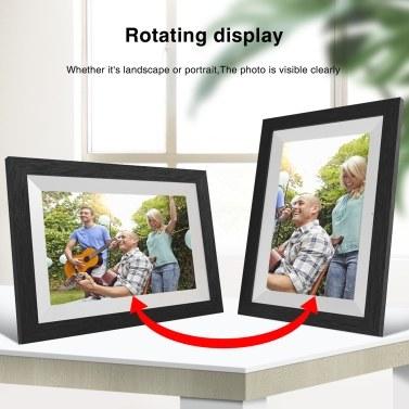 10-Zoll-Digitalbilderrahmen Spielen Sie Fotos mit Diashow, 1280x800 Digital-Bilderrahmen, Full-HD-IPS-Anzeigewinkel Digitaler Fotorahmen mit Touchscreen ab, senden Sie Fotos oder kleine Videos von überall, AU-Stecker