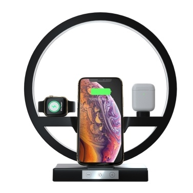 Wireless Charger Dock and Dimmable LED Ring Light 3 Light Colors Charging Stand