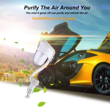 Nanum Mini DC 12V USB Auto Portable Car Humidifier Air Purifier Freshener Aroma Essential Oil Diffuser Aromatherapy Mist Maker Fogger for Travel