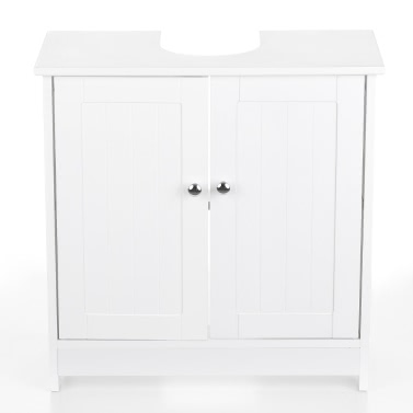 iKayaa Modern Sink Storage Cabinet Doors Bathroom Vanity Furniture 2 Layer Organizer White/Blue