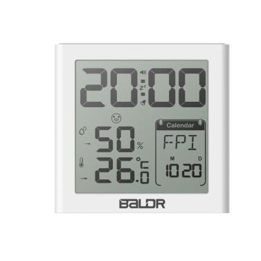 Baldr Mini LCD Digital Alarm Clock Indoor Thermometer Hygrometer Alarm Snooze Function Calender White Backlight Home Office Travel--Black