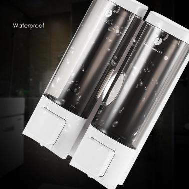 CHUANGDIAN Manueller Handseifenspender mit doppelseitigem Schaumstoffband Wandhalterung Doppelflüssiger Shampoo-Duschgelspender Handreiniger Waschraumlotionsspender für Badezimmertoilette Hotel 200mlx2