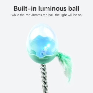 Pet Cat Treat Food Dispenser Ball Toy Interactive Treat Cat Toys Activity Snackball with LED Light Feather Bell