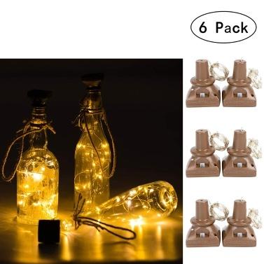 6 Packungen 20 LEDs Wasserdichte quadratische Korkleuchten Lichterketten Solarbetriebene Weinflaschenleuchten