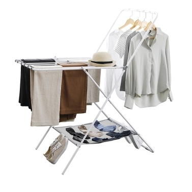 HOME ORGANIZER Foldable Drying Rack Collapsible Space-Saving Laundry Rack Carbon Steel Heavy Duty Hanging Stand 2 Tier Clothes Rack for Indoor and Outdoor Use