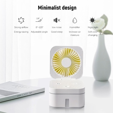 USB wiederaufladbarer Magic Cube Faltventilator Desktop-Lüfter Nebel Luftbefeuchter Zwei in einem geräuscharmen faltbaren Lüfter Befeuchtender Sprühventilator mit Nachtlicht