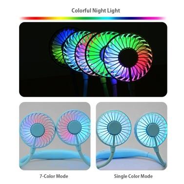 Hängender Halsventilator mit Aromatherapie Mini biegbarer tragbarer Sportventilator Tragbarer und wiederaufladbarer Desktop-Lüfter 3-Gang-Wind Wind 7-Farben-LED-Licht für Home-Office-Reiseübungen