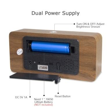 LED Digitaler Holzwecker APP-Steuerung Zeit- / Temperatur- / Datumsanzeige Elektronische Desktop-Uhr 4 Stufen Helligkeit Soundsteuerung USB-Ladung oder Batterieversorgung