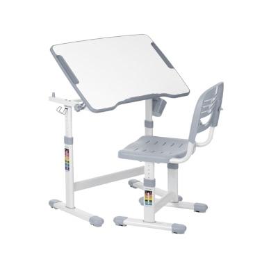 IKayaa Höhenverstellbare Kinderstudie Schreibtisch & Stuhl Set 0-40 ° Kippbare Kinder Aktivität Kunst Tisch Set Arbeitsstation Metallrahmen