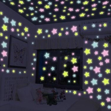 Romantischer Nachtleuchtender Stern-Form-Aufkleber Festivel Leuchtstoffaufkleber
